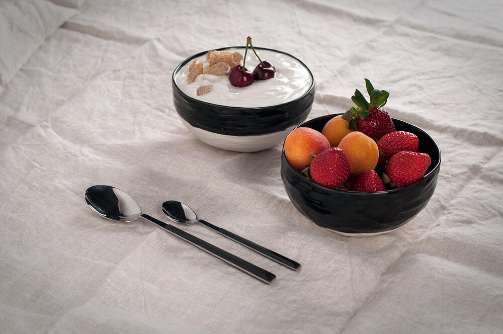 Bol porcelana negro y blanco Colección Oroneta
