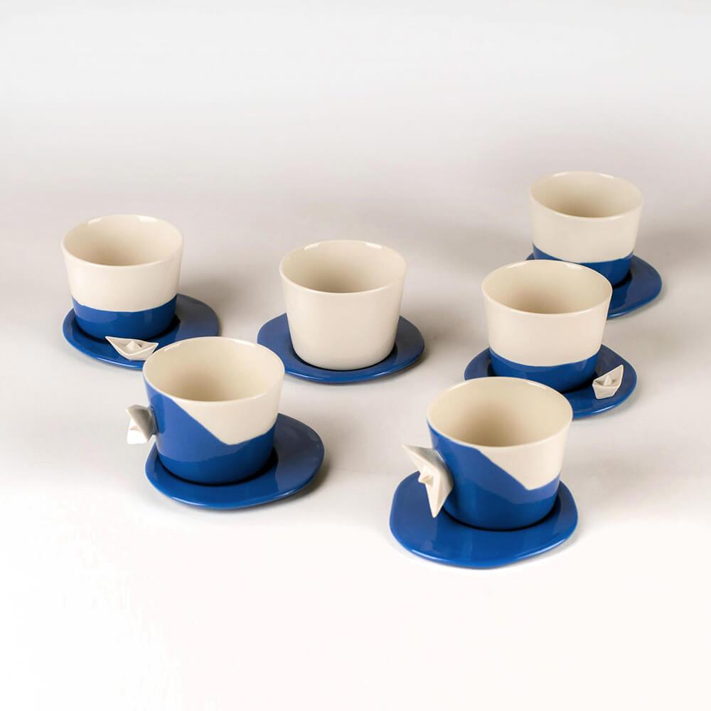 Juego de tazas de café de porcelana Colección Mar