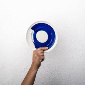 Plato de postre pintado azul cobalto Amama