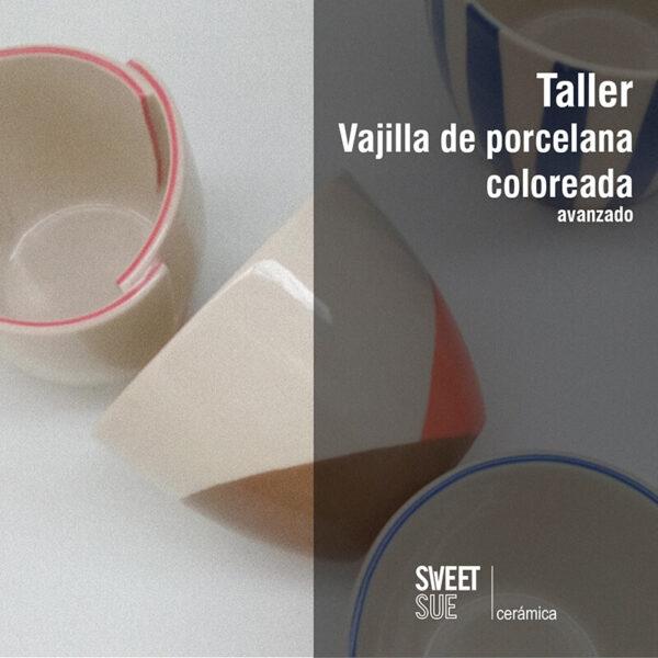 Taller vajilla de porcelana coloreada